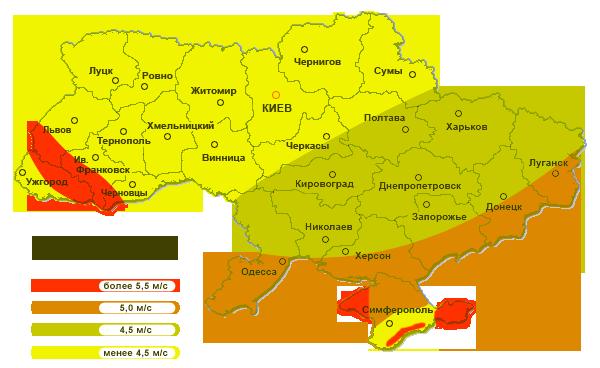 Карта средней силы ветра в Украине