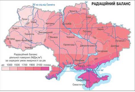Карта радиационного баланса Украины
