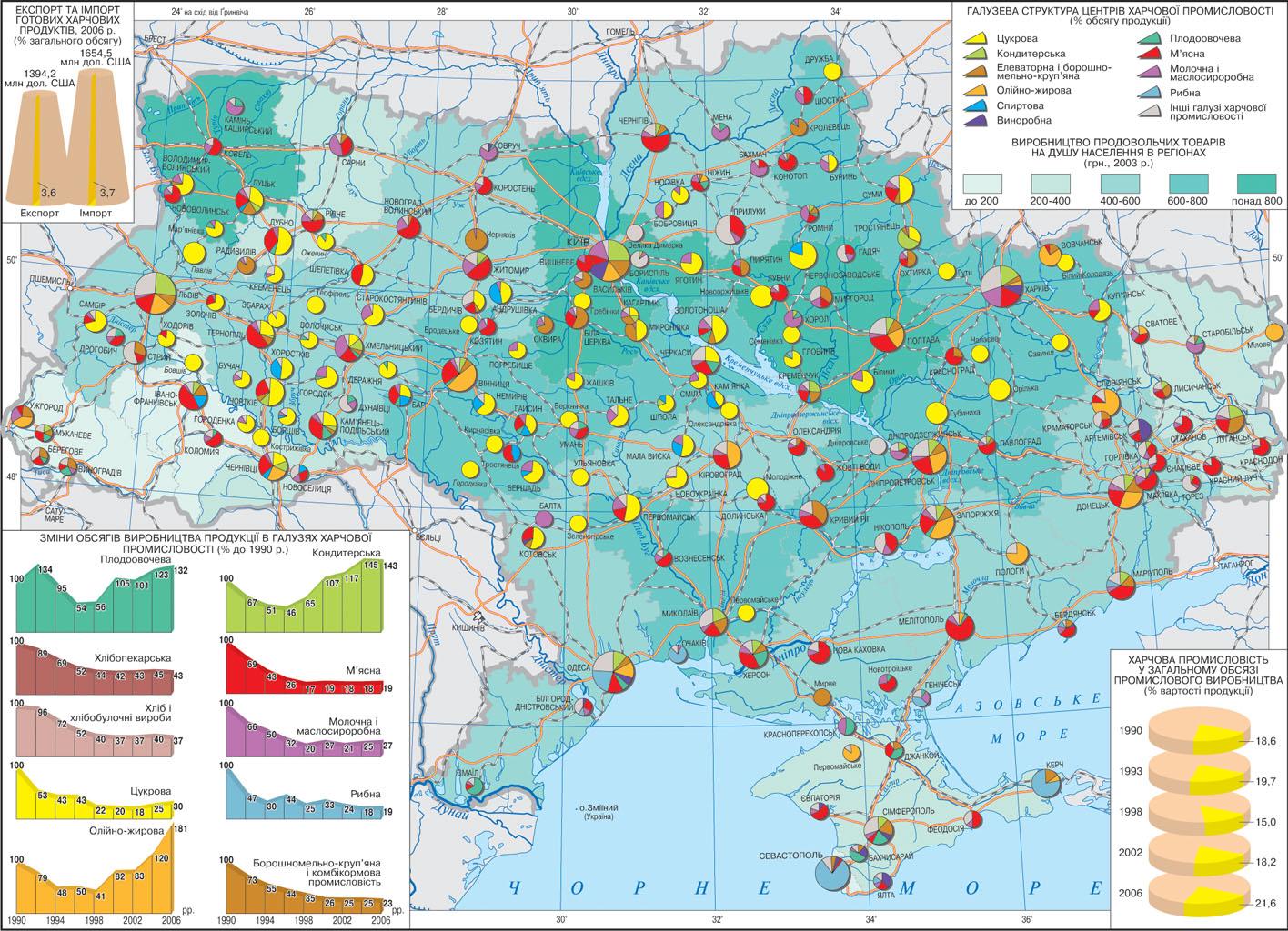 Пищевая промышленность Украины карта