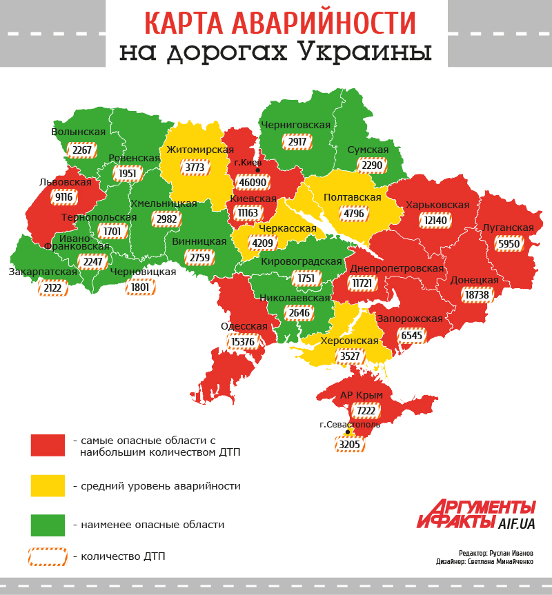 Карта опасных дорог Украины