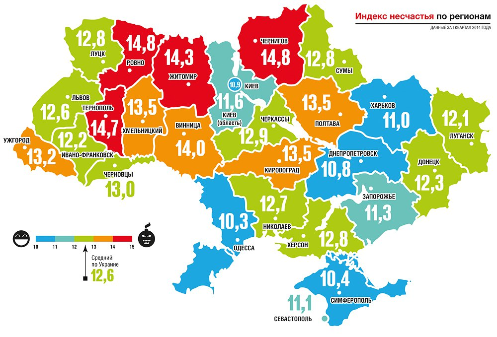 Индекс счастья Украины по регионам