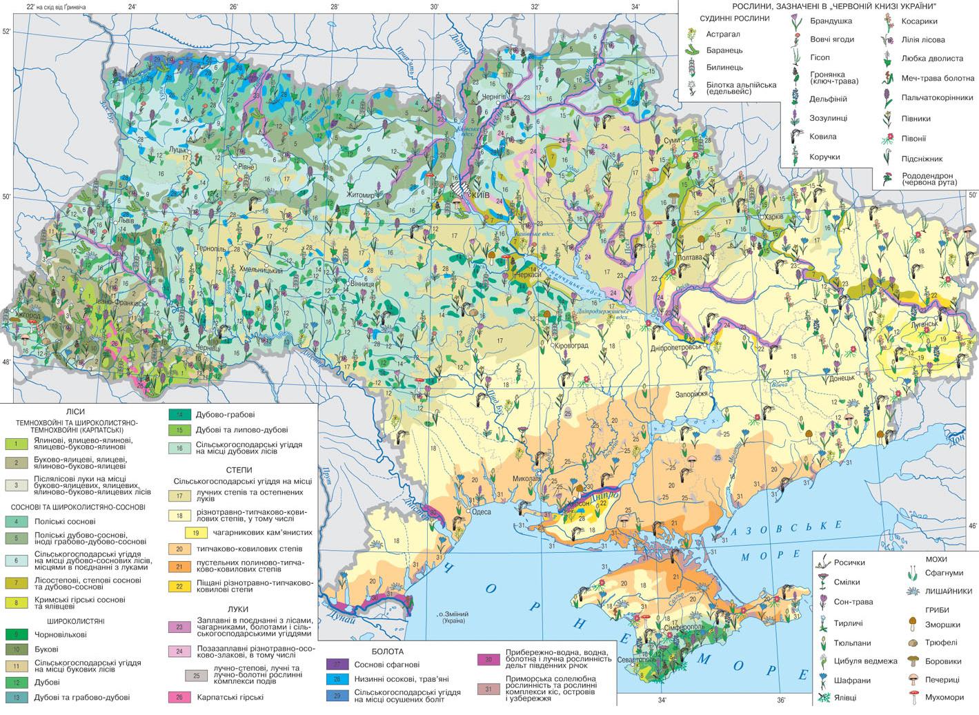 Карта растительности Украины