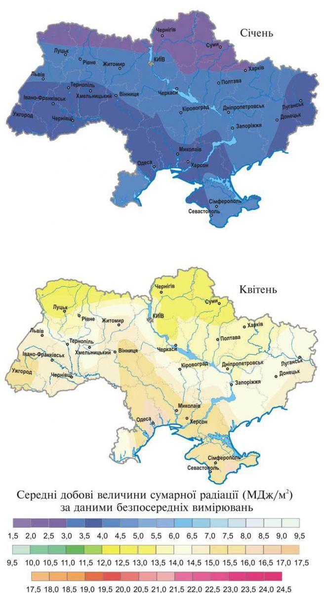 Солнечные энергетические ресурсы Украины карта