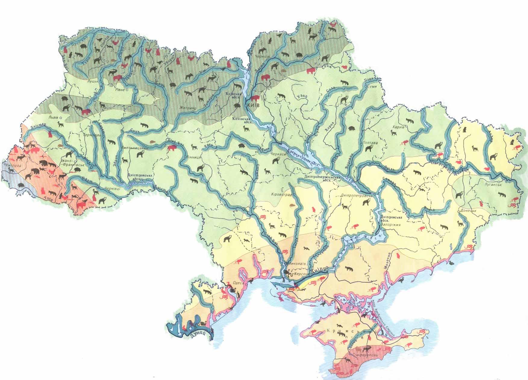 Карта распространения крупных животных по Украине