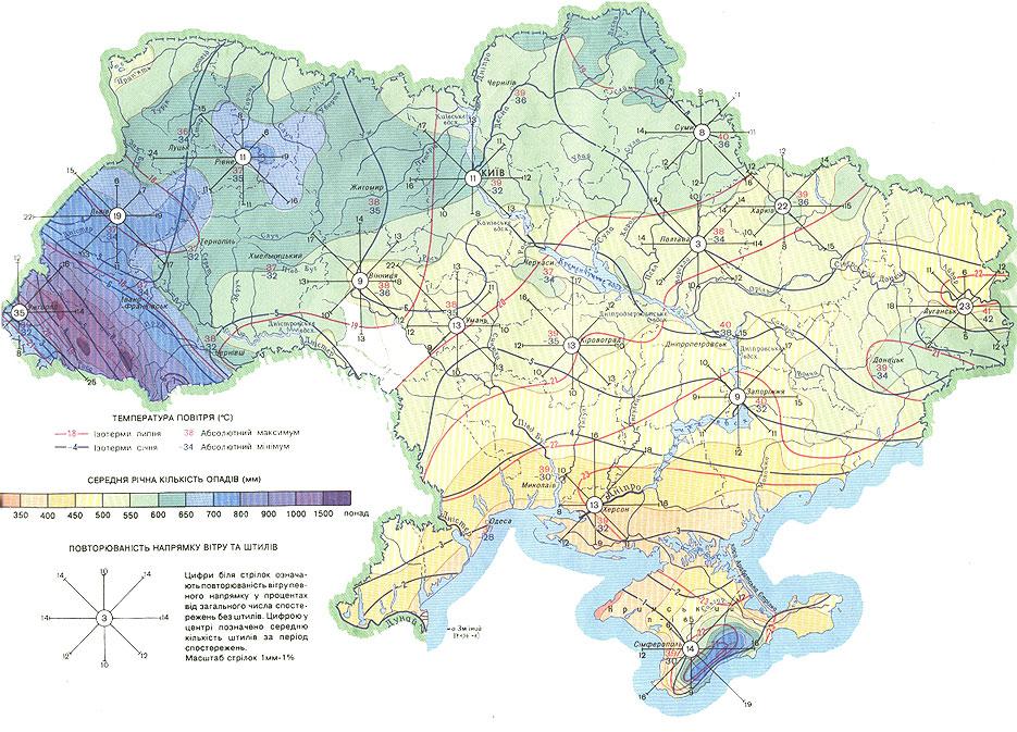 Карта ветров Украины