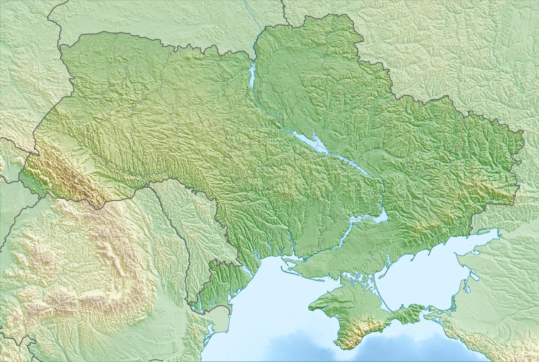 Карта рельефа Украины