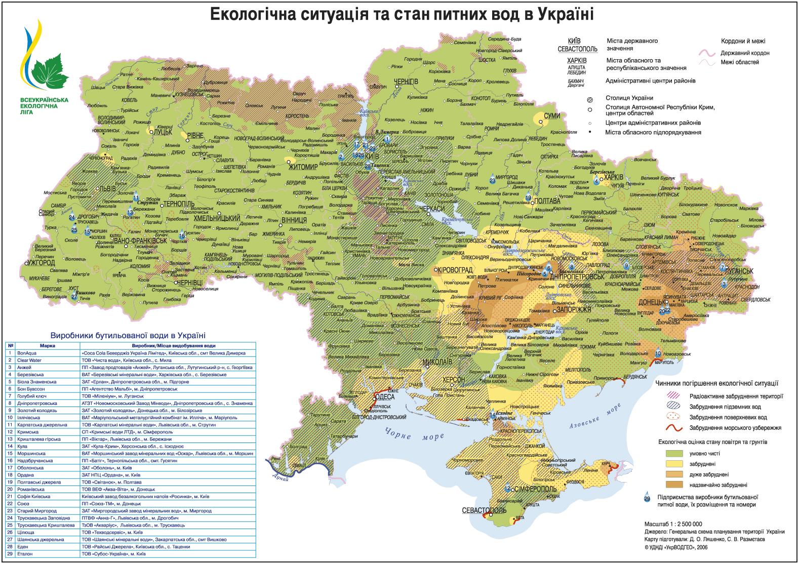 Карта состояния питьевых вод и водоёмов Украины
