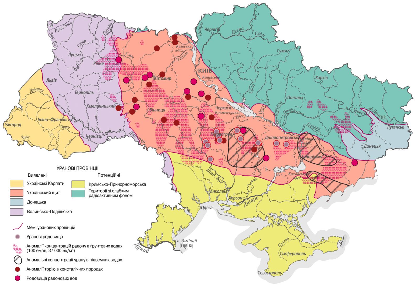 Карта естественной радиоактивности территории Украины