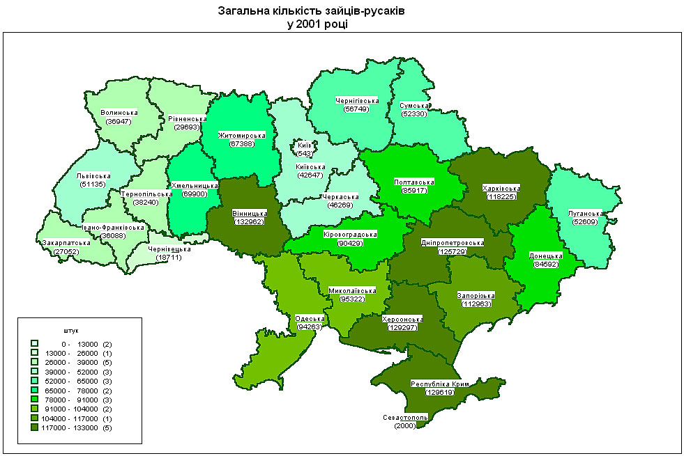 Карта распространения зайцев в Украине