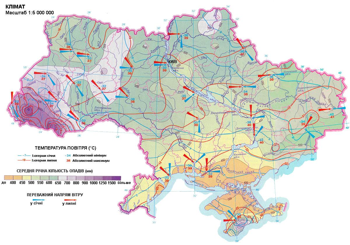 Карта осадков Украины