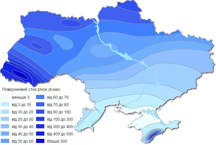 Поверхностный сток рек Украины карта