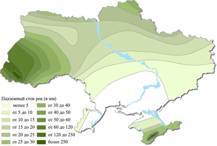 Подземный сток рек Украины (карта)