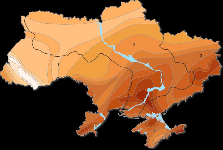 Карта испарения рек Украины