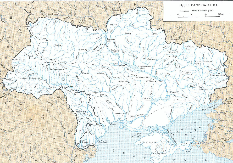 Карта рек Украины