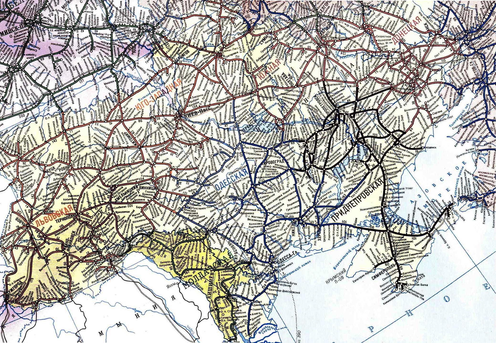 Карта железных дорог Украины самая подробная