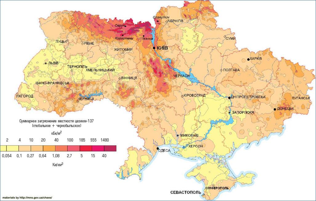 Карта загрязнения Украины цезием 1986 год