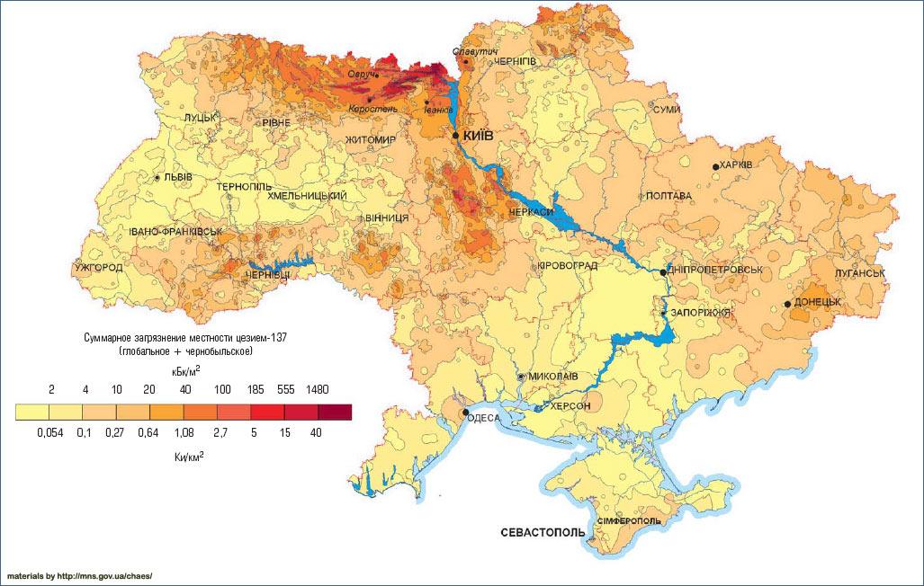 Карта загрязнения Украины цезием 2006 год