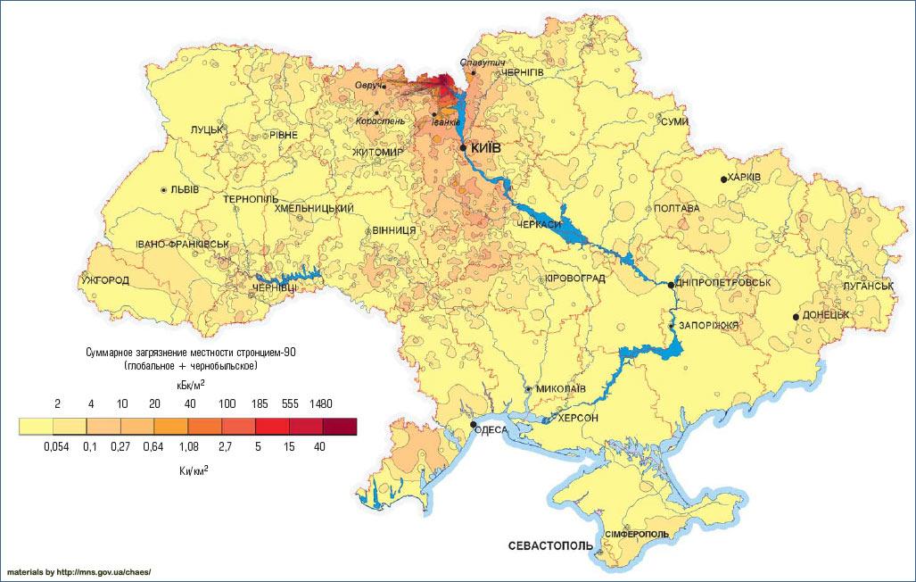 Карта загрязнения Украины стронцием 1986