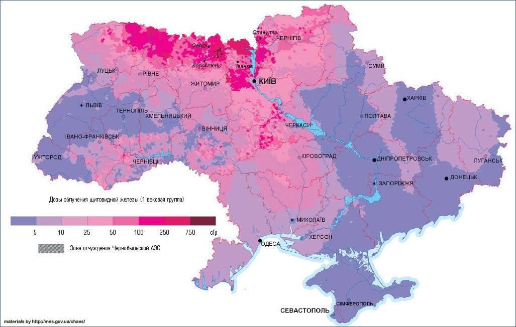 Карта прогноза доз облучения щитовидной железы населения Украины