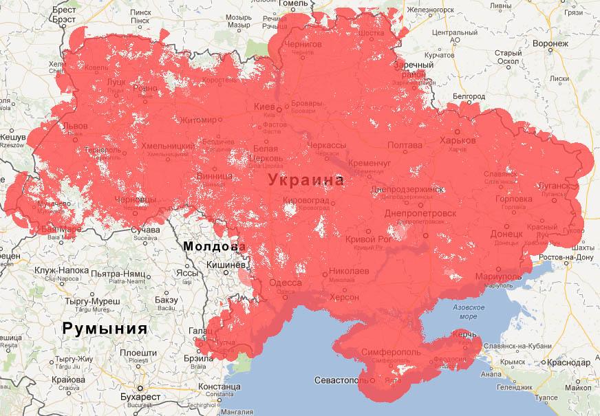 Карта (Vodafone) МТС покрытия в Украине