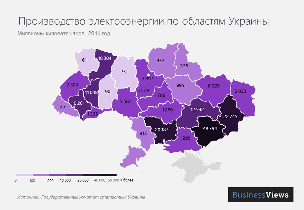 Производство электроэнергии в Украине (карта)