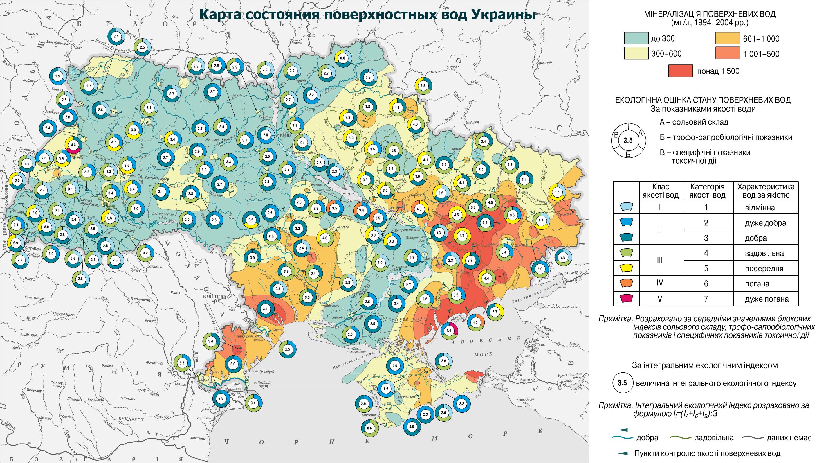 Карта состояния поверхностных вод Украины