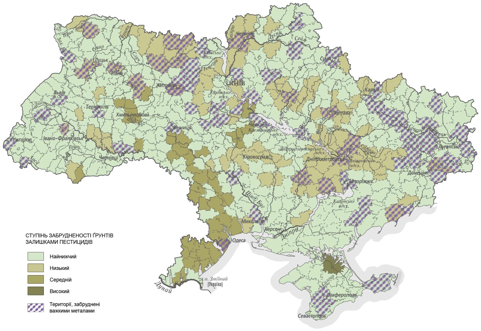 Карта загрязненности почв Украины остатками пестицидов и тяжелых металлов