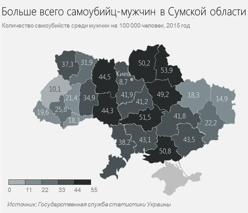 Самоубийства среди мужчин по Украине