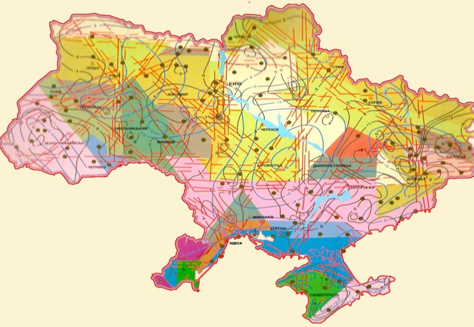 Карта тектонических движений Украины
